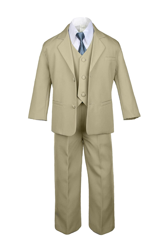 Unotux 6pc Boy Khaki Tuxedo Suits with Satin Dark Gray Necktie from Baby to Teen