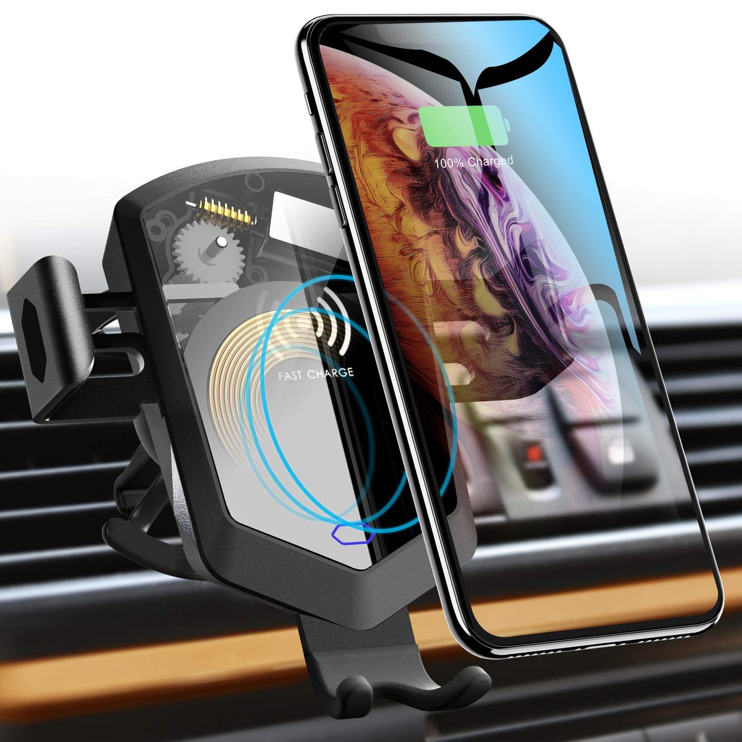 TOZO Wireless Car Charger Mount Holder Auto Sensing Silent Motor Clamping Fast Charging for iPhone Xs/XR/Xs Max/X/10/8/8 Plus, Samsung Galaxy S8 S8 S9 S9 S10 S10 Note 8, 9 [Black]