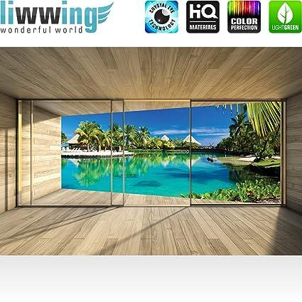 Papel Pintado Fotográfico Premium Plus Arquitectura Fotos pintado cuadro - Papel pintado de pared terraza balcón Ventana Madera pared mar Palmeras casetas ...