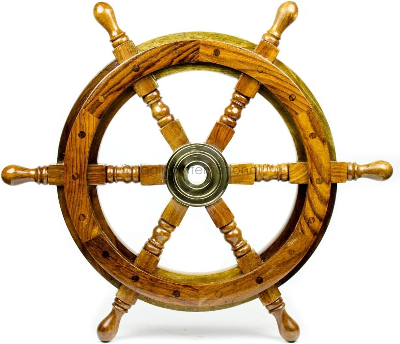 Nagina International Nautical Handcrafted Wooden Ship Wheel - Home Wall Decor (16 Inches, Natural Wood)
