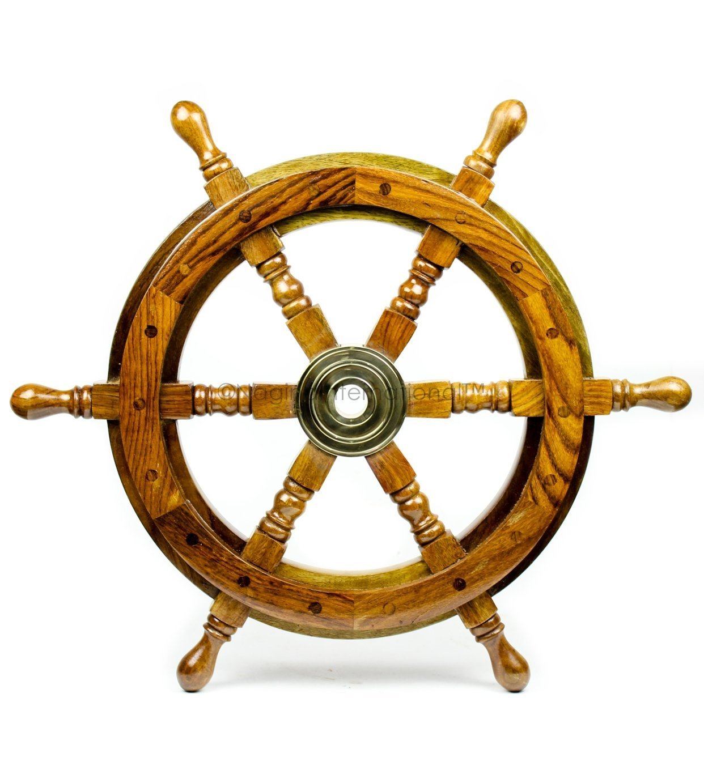 Nagina International(ナジャイナインターナショナル) Nautical高級ハンドクラフト木製操舵輪 | 海賊風家庭壁装飾&ギフト |16 Inches NWH0002NW B01FVSRHP6 16 Inches|ナチュラルウッド ナチュラルウッド 16 Inches