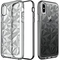 BENTOBEN Clear Shiny 3D Prism 2 in 1 Slim Protective Phone Case Cover for iPhone X (Black)