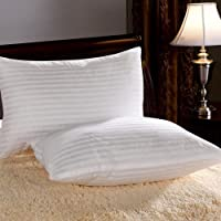 "CCWB by Cotton Craft Luxurious Striped 2 Piece Sateen Pillowcase Pillow Cover Set - 18""x27"", White"