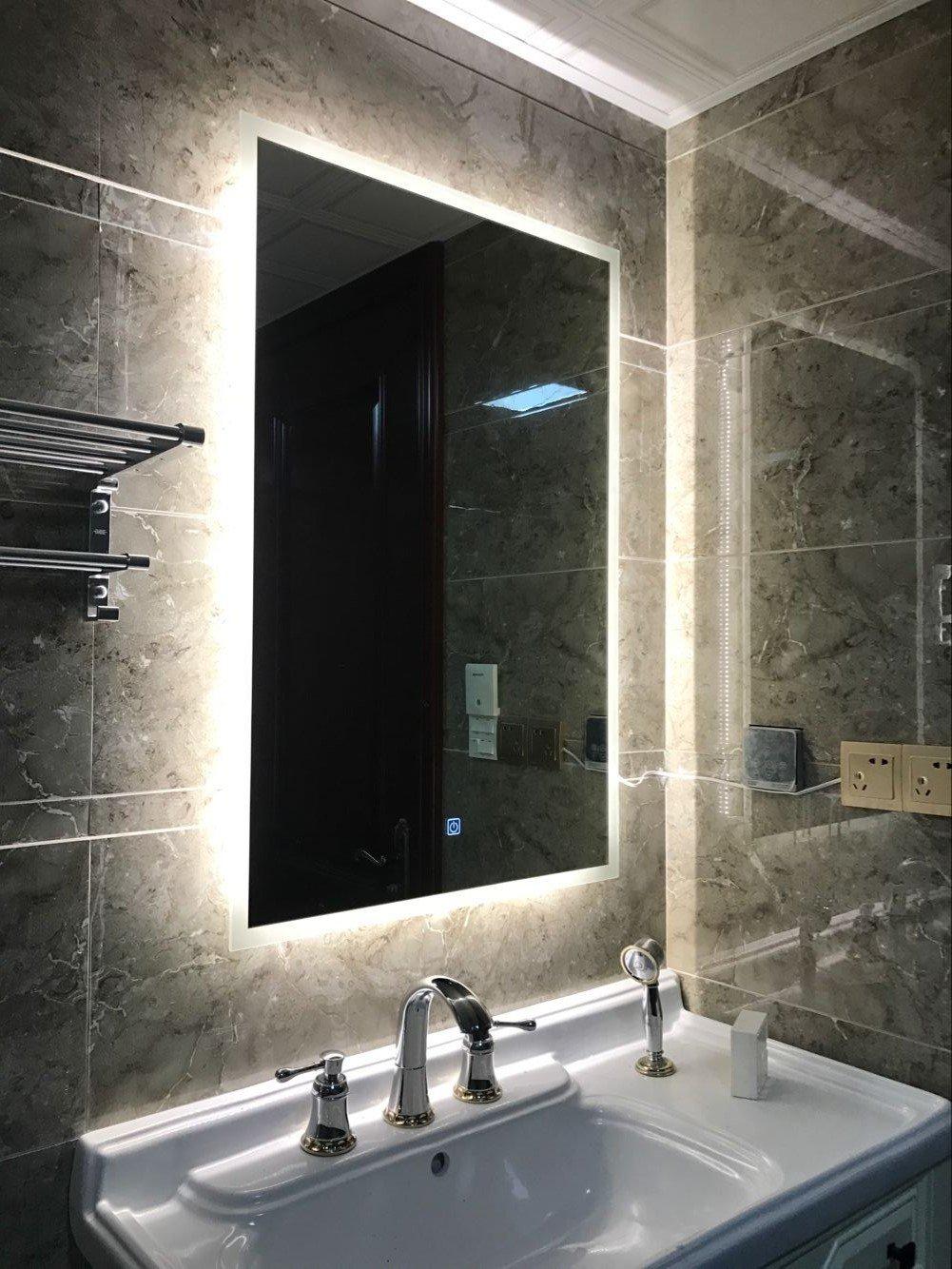 DIYHD W36'xH36' Box Diffusers Led Backlit Bathroom Mirror Vanity Square Wall Mount Bathroom Finger Touch Light Mirror