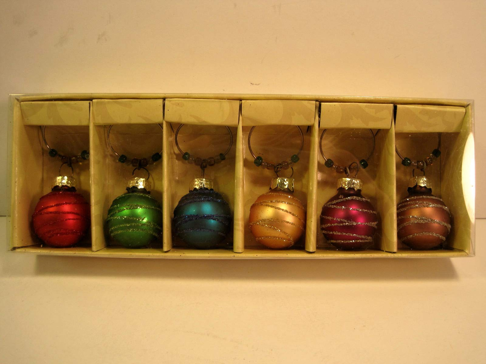 Wine Glass Charms or Markers, Christmas Ornament Themed, Set of 6 by Mango Moon