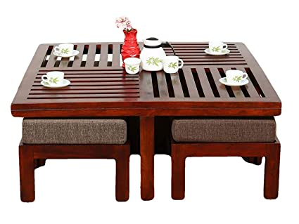 Thd The Home Dekor Jolly Solid Wood Coffee Table With 4 Stools Brown Finish Amazon In Home Kitchen