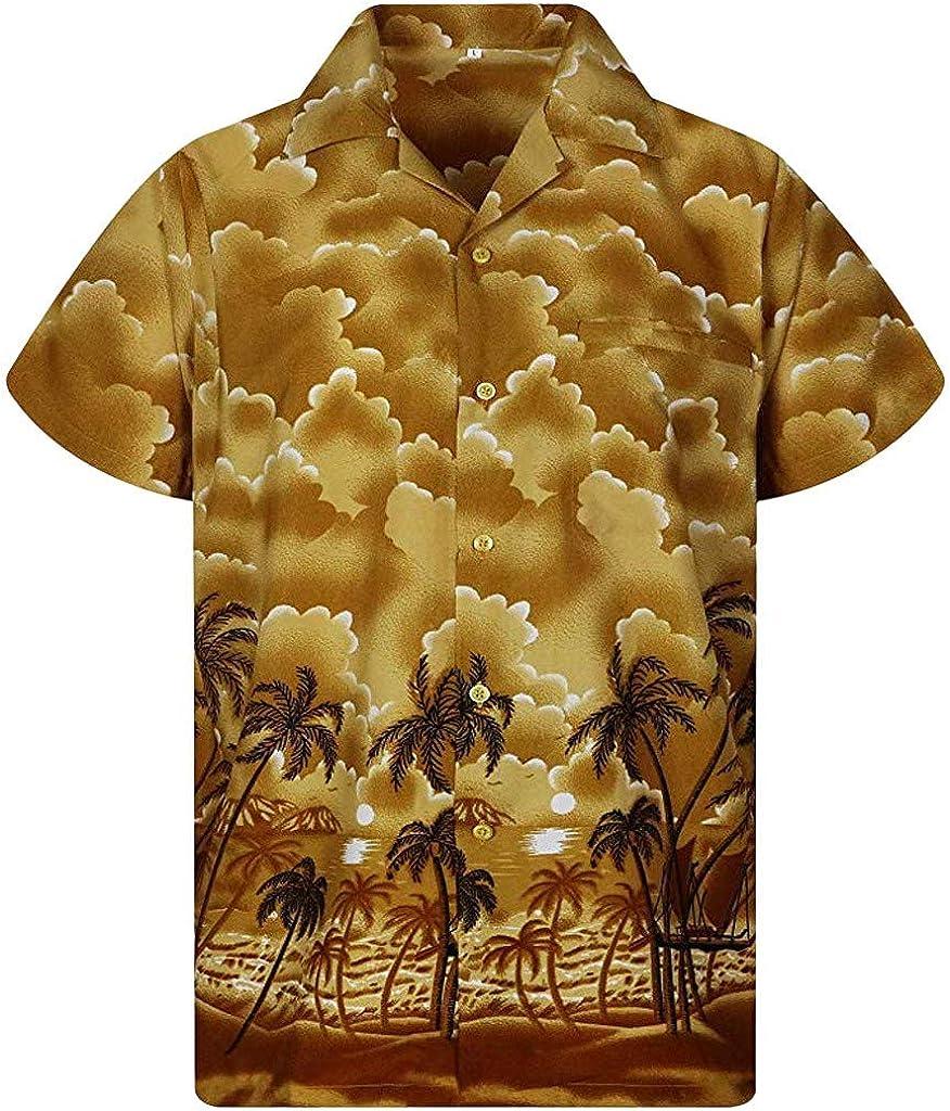 Kamao Shirt for Men Beach Summer Casual Button Hawaii Print Beach Short Sleeve Quick Dry Top Blouse