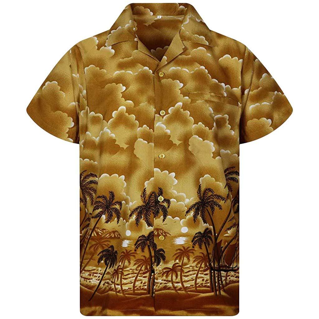 Xlala Camisas para Hombres Hawaiana Vacación Estilo Playa Coco ...