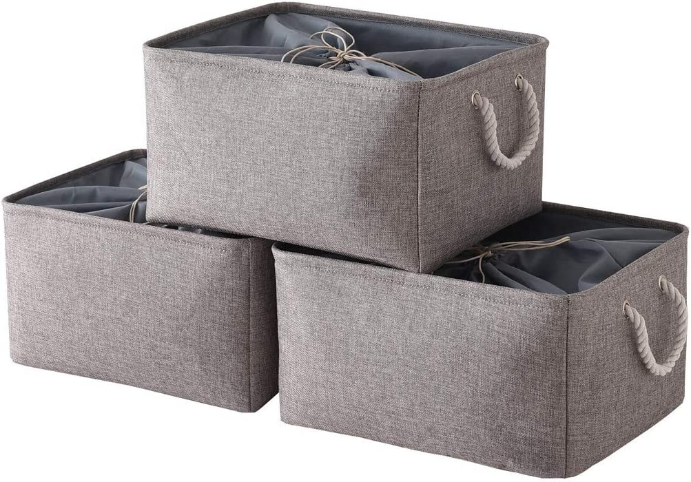 TheWarmHome Foldable Storage Basket with Strong Cotton Rope Handle, Collapsible Storage Bins Set Works As Baby Storage, Toy Storage, Nursery Baskets (Grey, 3Pack-17.7L13.8W9.8H)