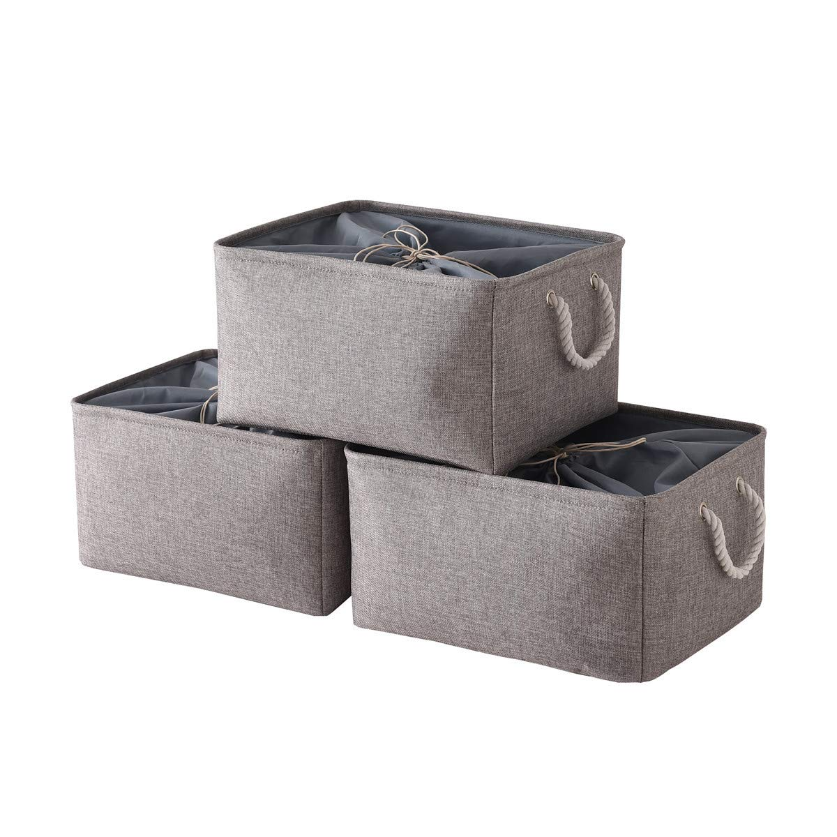 TheWarmHome Jumbo Basket Foldable Storage Basket with Strong Cotton Rope Handle, Collapsible Storage Bins Set Works As Baby Storage, Toy Storage, Nursery Baskets (Grey, 3Pack-20.5L15.7W13.8H)