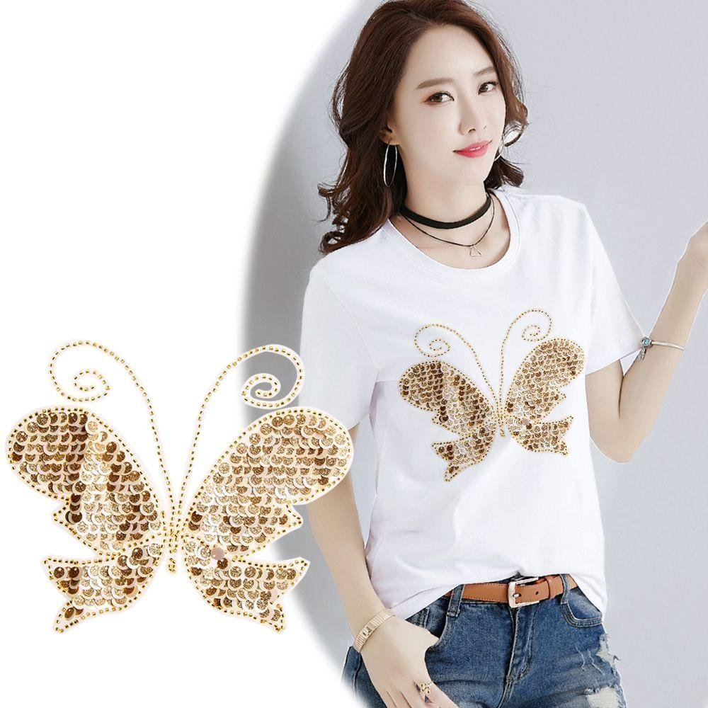 Cloudga New T-Shirt Sweater Embroidered Paillette Applique Butterfly Sequins Patch Sew on