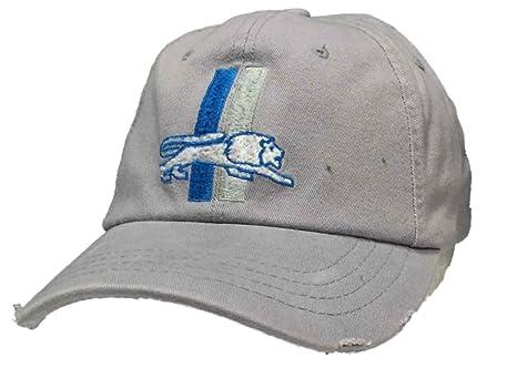 57df8b7c118 Reebok Detroit Lions Gray Worn Vintage Retro Logo Flexfit Hat Cap (S M)