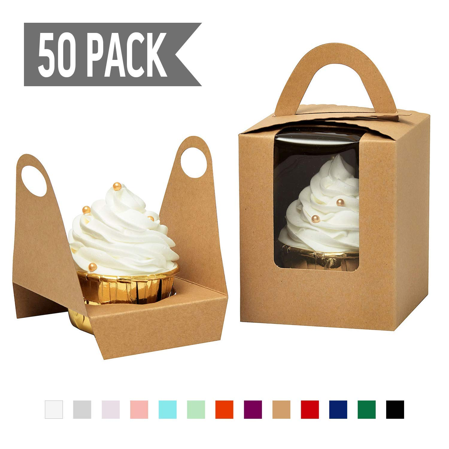 YoTruth Rustic Brown Kraft Paper Single Cupcake Holder Individual Containers 50 Count With Window Insert And Handle For Party Favors