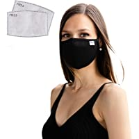Face Mask Reusable cloth with filter pocket, & nose wire incl 2 X pm2.5 carbon filters for additional face cover…