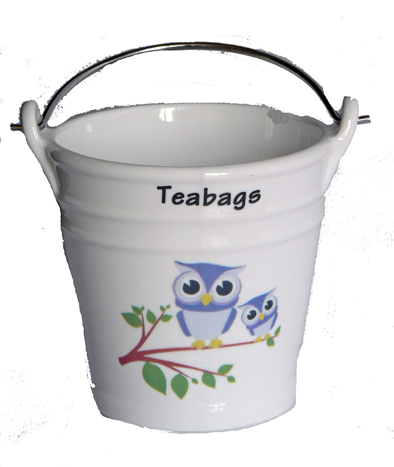 Fun Owl and owlett Design Bucket Teabag Tidy, Porcelain Bucket Teabag Tidy crackinchina