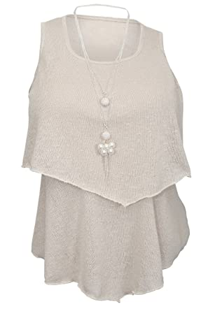03cf9e2ed7b6b eVogues Plus Size Tiered Knit Top Ivory at Amazon Women s Clothing ...