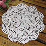 kilofly Crochet Cotton Lace Table Placemats Doilies Value Pack, 4pc, Roma, White, 10 inch