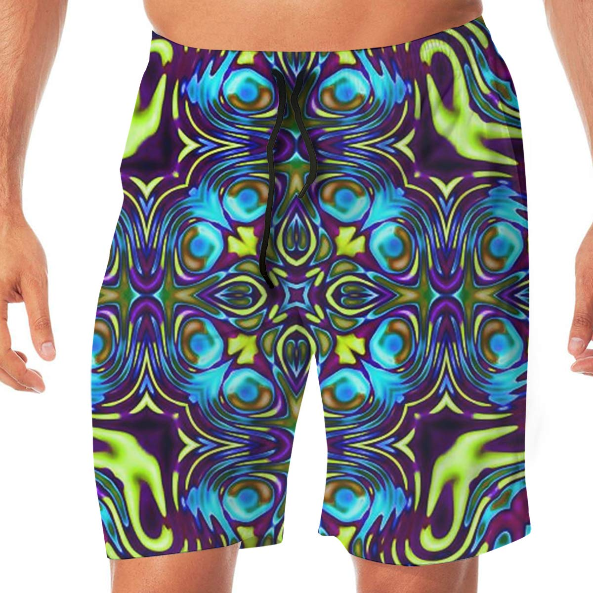 TR2YU7YT Color Psychedelic Geometry Casual Mens Swim Trunks Quick Dry Printed Beach Shorts Summer Boardshorts Bathing Suits with Drawstring