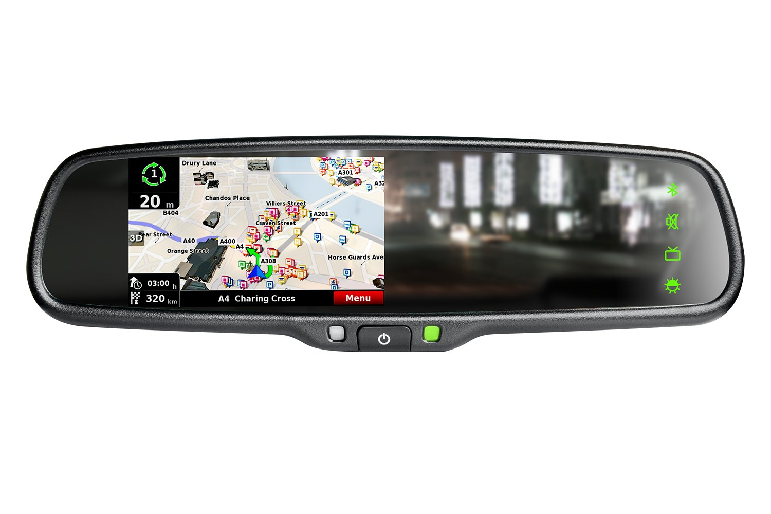 iMirror OEM styled car rear rearview mirror monitor with GPS navigation with iGO map, bluetooth handsfree and backup camera display touch screen