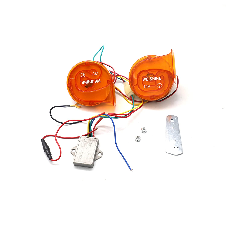 weishine 12V 120 DB LED cycle light digital transparent orange Electric Loud Siren Siren Air Horn 22 Sounds Car Truck Motorcycle