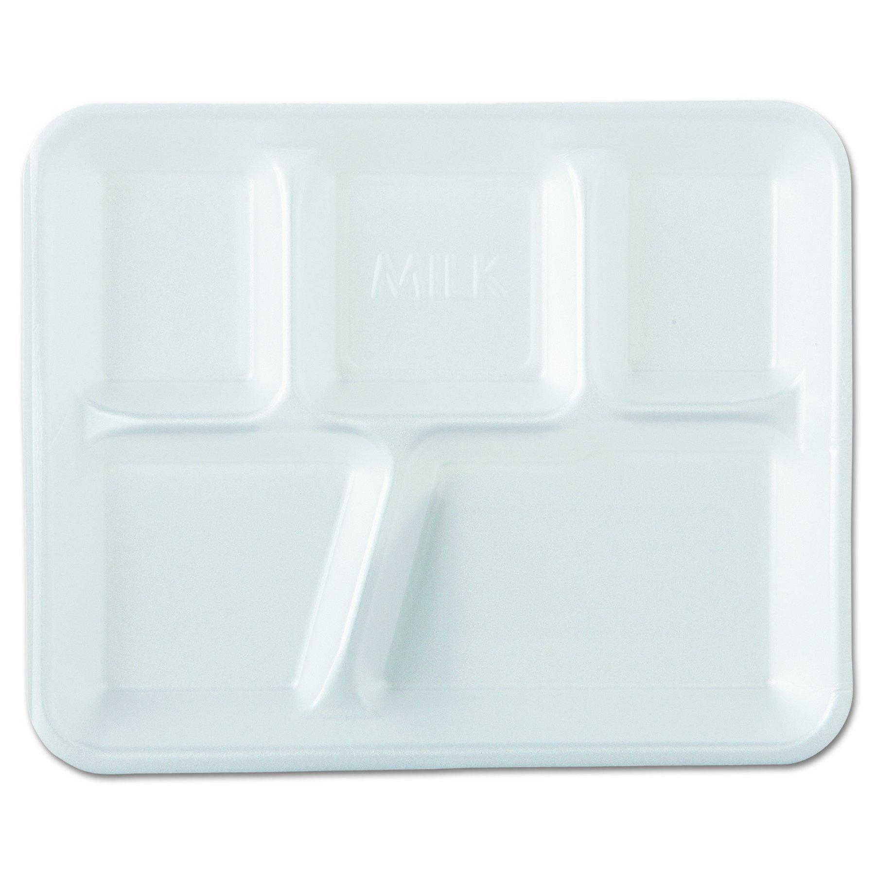 Genpak 10500 Foam School Trays, 5-Comp, 10 2/5 x 8 2/5 x 1 1/4, White (Case of 500)