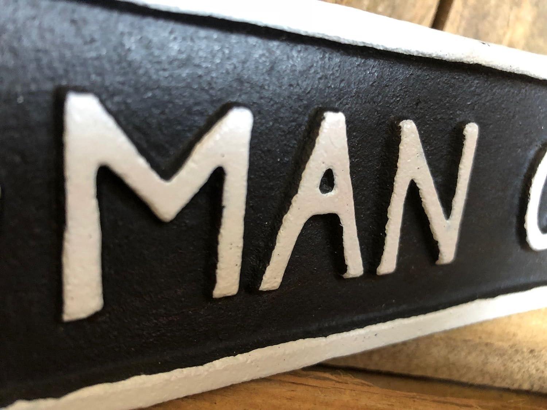 Antique Black Cast Iron Wall Garden Garage Gate Door Sign Plaque Man Cave