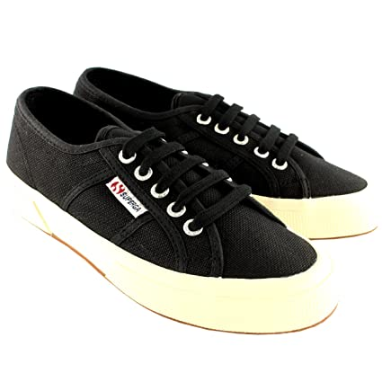 94391dfe9a8215 Womens Superga 2750 Cotu Classic Plimsoll Lace Up Canvas Sneakers - 7 -  Black/White