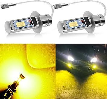 H3 LED Fog Lights Conversion Bulbs Kit 60W 8000LM Super Bright 3000K Yellow