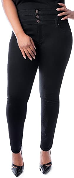 be25a4ab2d Jully Womens Plus Size High Waisted Blue/Black Stretch Skinny Denim Jeans  Pants (14