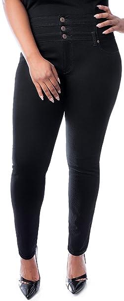 19da3bcb5ac Jully Womens Plus Size High Waisted Blue Black Stretch Skinny Denim Jeans  Pants (14