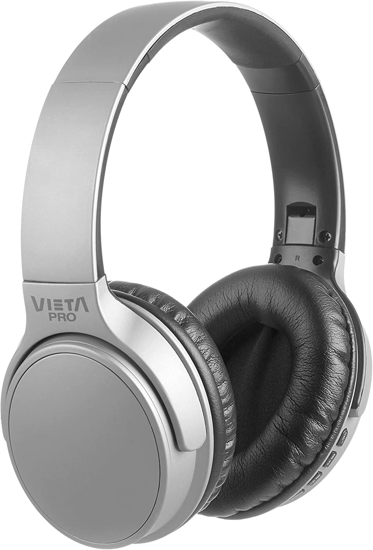 Vieta Pro Way – Auriculares inalámbricos (Bluetooth, radio FM, micrófono integrado, entrada Auxiliar, reproductor Micro SD, plegables, autonomía 40 horas) gris