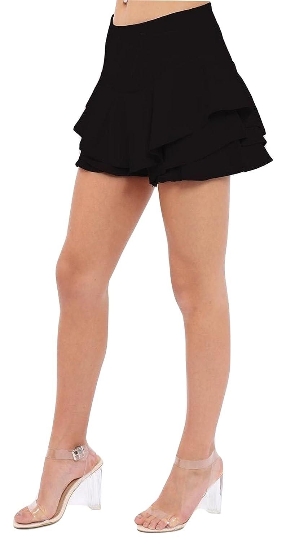 New Women Layered Ruffled High Waisted Mini Skirt