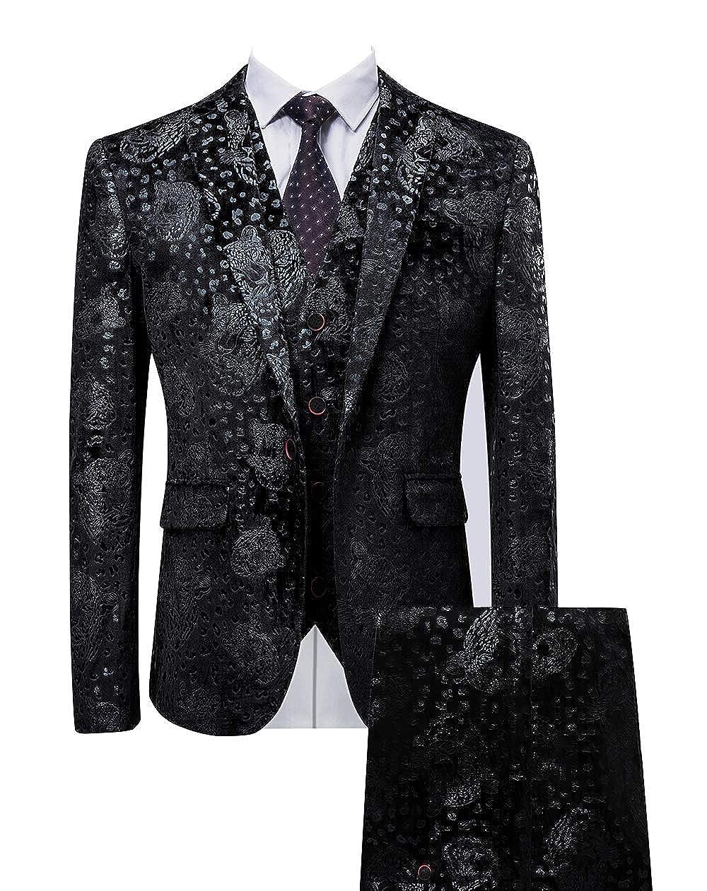 MOGU Mens Three Piece Tuxedo Floral Black Slim Fit Suit