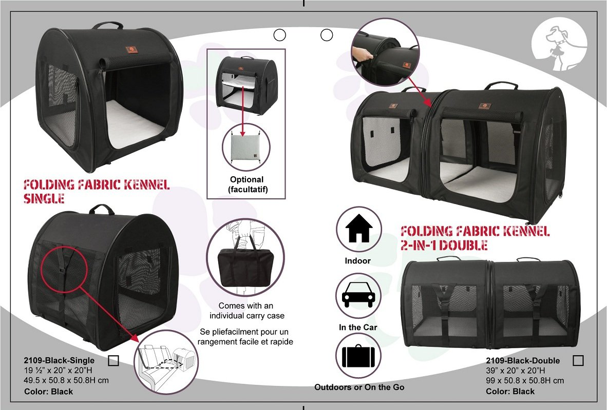 One for Pets Fabric Portable 2-in-1 Double Pet Kennel / Shelter, Black  20''x20''x39'' - Car Seat-belt Fixture Included