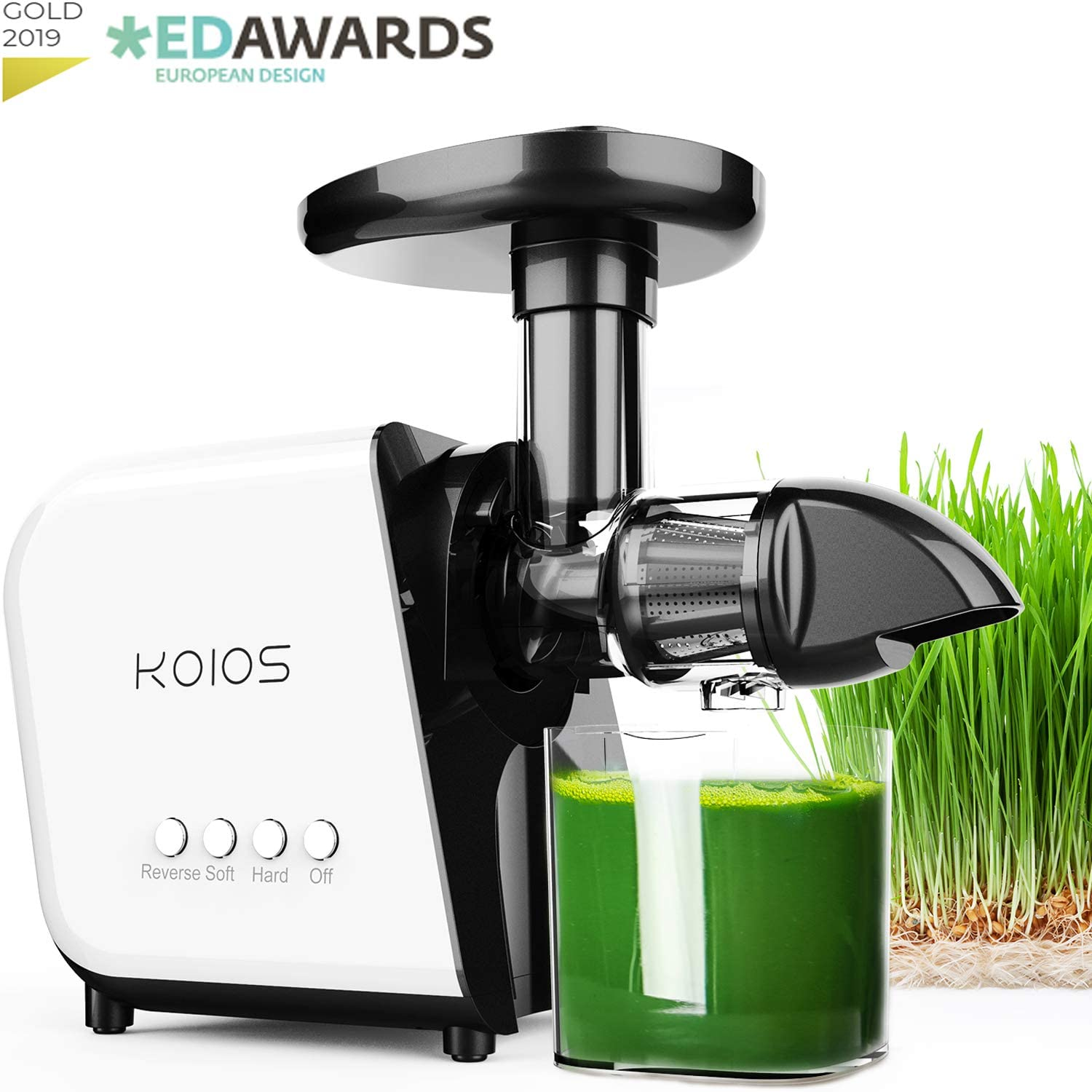 KOIOS Juicer, Slow Masticating Juicer Extractor 60 dB, Reverse Function 7 Level Longer Spiral System, BPA-Free, Cold Press Juicer Machines with Brush, Creates High Nutrient Fruit and Veggies Juice