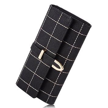 Moda señora mujer PU cuero lindo hebilla embrague cartera ...