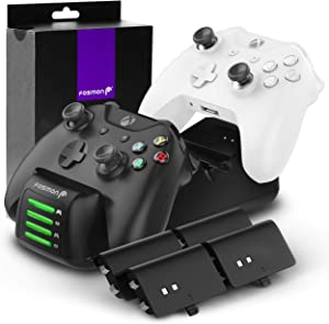 Fosmon Quad PRO Controller Charger Compatible with Xbox One/One X/One S Elite (Not for Xbox Series X/S 2020) Controllers, Dual Dock Charging Station with 4 Rechargeable Battery Packs - Black