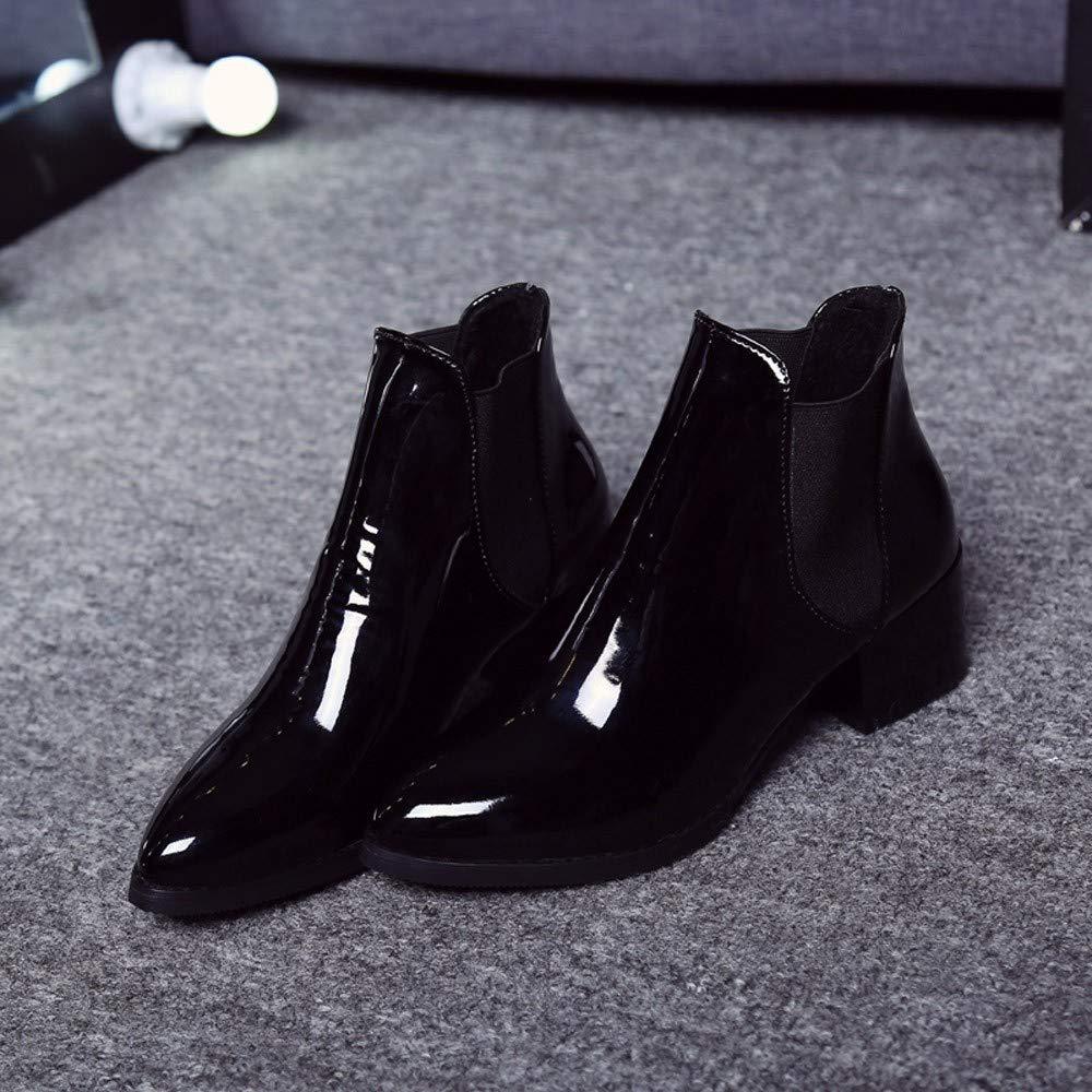 HhGold Damenschuhe, Damen Stiefel aus elastischem Lackleder Lackleder Lackleder mit spitzem Absatz Chelsea-Stiefeletten mit elastischem Schnürverschluss (Farbe   Schwarz) 2a7698