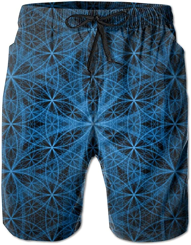 QQMIMIG Mens Sacred Geometry Patterns Humor Quick Dry Cargo Shorts Fashion Beach Shorts