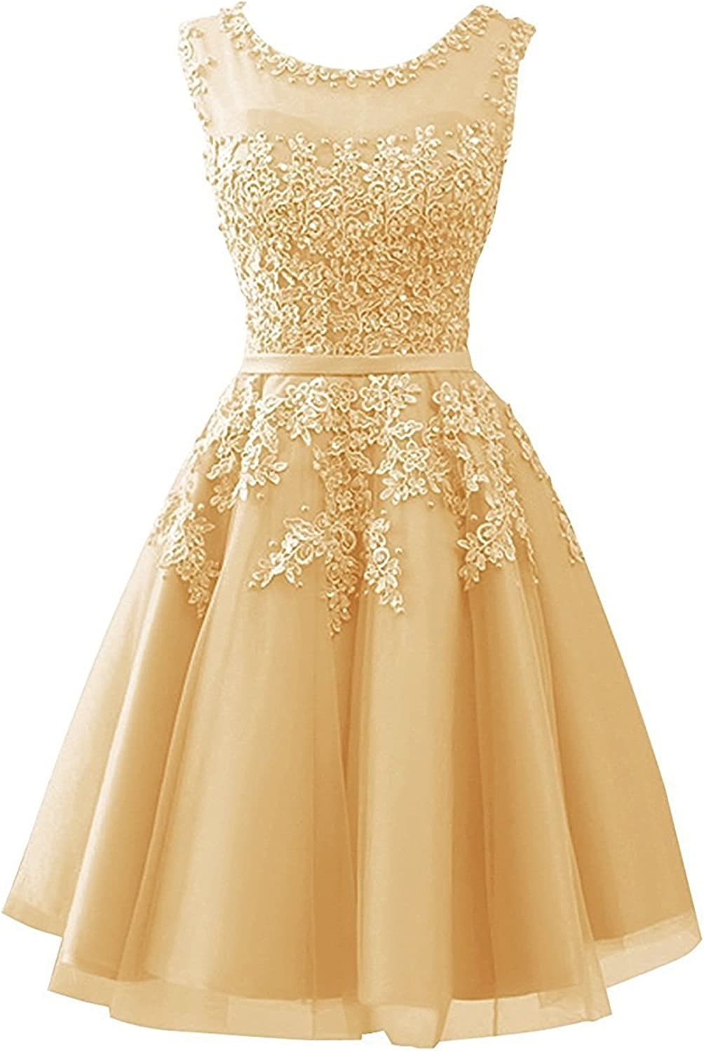 BRL MALL Womens Tulle Short Junior Homecoming Dress Lace Evening Gowns Brl19