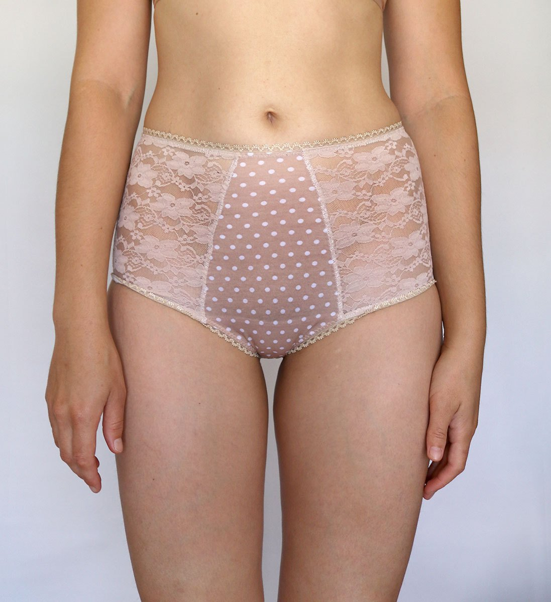 High Waist Panties. Dotted Beige Cotton Blend and Lace Inserts. Handmade Lingerie