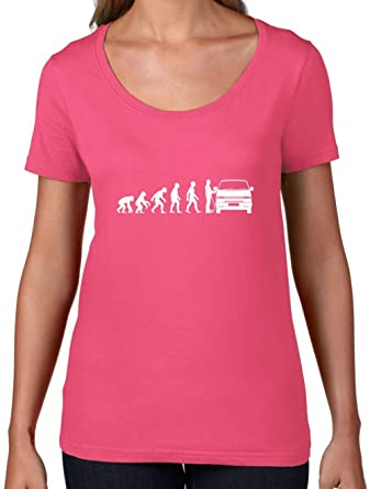 Evolution of Man VW T4 - Damen T-Shirt mit Rundhalsausschnitt- Azalee - S