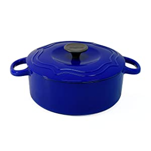 Chantal Enameled Cast Iron Round Dutch Ovens (7 Quart, Cobalt Blue)