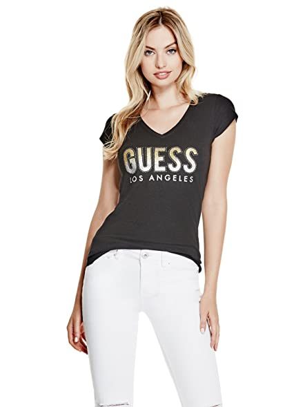 Guess Factory Women's Carai Glitter Logo Tee
