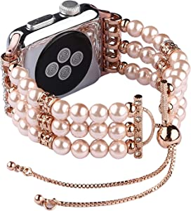 Compatible with Apple Watch Bands 38mm 42mm Women, Adjustable Elastic Pearl Pendant and Tassel Replacement Band Compatible with iWatch Series 3 Series 2 Series 1 Sport and Edition, 42mm, Rose Pink Pearl