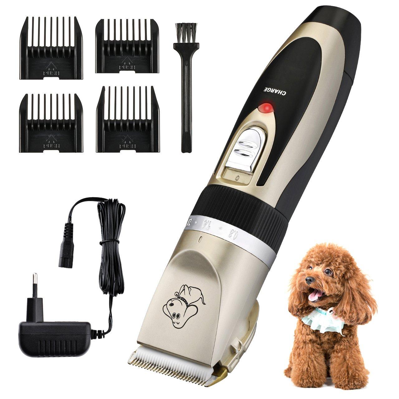 OMORC - Cortapelos para Perro y Gato, Bajo Ruido y Vibración, Negro y Oro 1