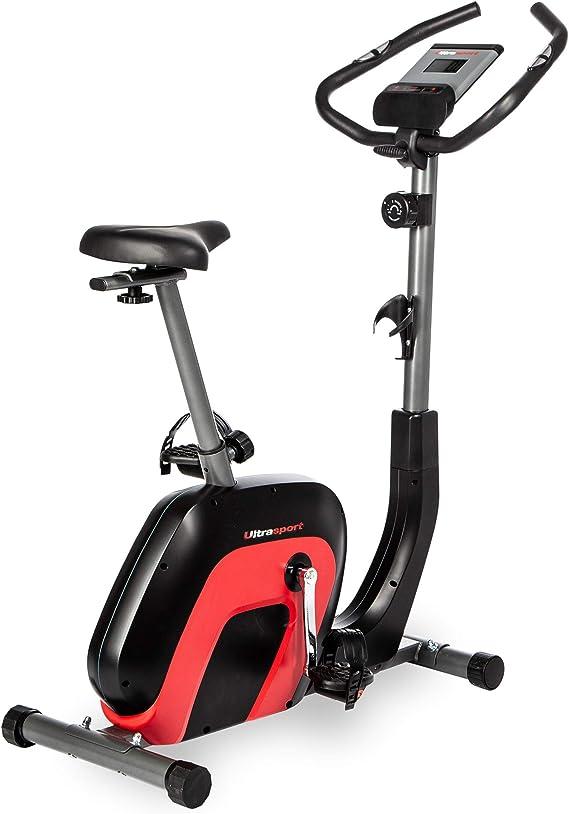 Ultrasport Bicicleta estática Racer 2000 con Pantalla táctil Compatible con Bluetooth, sensores de frecuencia cardíaca, 8 Niveles de Resistencia, sillín y Manillar Ajustables, Unisex, Negro/Rojo: Amazon.es: Deportes y aire libre