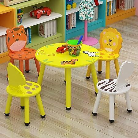 Mesa para Niños Y Juego De Sillas para Animales Mesa Redonda para Niños De Madera Redonda Asiento De Dibujos Animados Habitación para Niños Sala De Juegos Muebles Preescolares para 2-8 Años: Amazon.es: