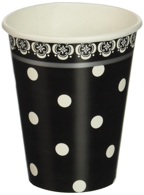 Amscan Elegant Damask & Polka Dot Party Paper Cups (18 Piece), 9 oz, Black/White   B007949MA4
