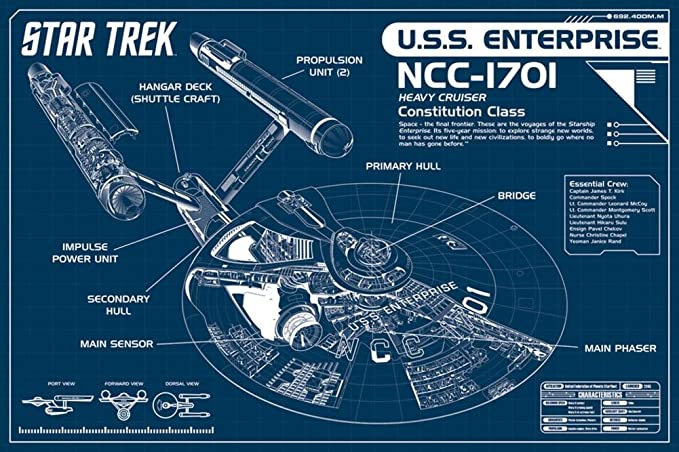 Amazon Star Trek Enterprise Blueprint Poster 36 X 24in Posters